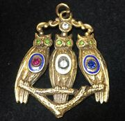 Rare Vintage Odd Fellows Solid 12k Gold Three Wise Owls Pendant