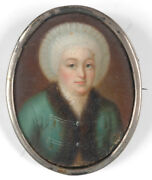 Portrait Of A Dutch Woman Oil On Tin Miniature 2.h. Of The 18th Century