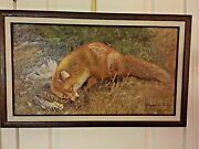 Original Oil Painting Of Fox By Listed Artist Bruno Liljefors Dated 1903 18x 29