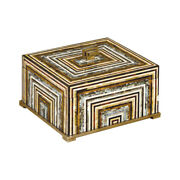 Maitland-smith 8106-11 Shell Inlaid Wooden Box W/ Antique Brass Accents New