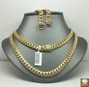 Genuine 10k Yellow Gold Cuban Link Chain Necklace 7mm 24 Inch And 22 Inch Layer