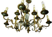 French Empire Chandelier Green Pale Tole Bronze Brass 16 Lights Roaring Lions
