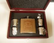 Jack Daniels Whiskey Leather Stainless Steel Flask 4 Shot Glasses Rosewood Box