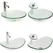 Bathroom Tempered Glass Clear Basin Vessel Sink Bowl With Faucet Set Round/oval