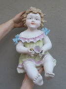 14 Vintage Bisque Porcelain Baby Piano Figurine Girl Dress Cup Bow Germany