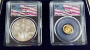 Wtc Recovery Coin Set 1 Of 1000 - 2001 Silver Eagle/1999 5 Gold Eagle Ms69 Rare