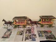 Vintage Coca-cola Cast Iron Horse Drawn Wagons With Drivers