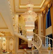 Top Led Crystal Staircase Chandelier Villa Complex Living Room Hotel Lamp Lights