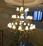 Luxury European 35 Heads Zinc Alloy Crystal Living Room Compound Staircase Light