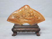 Nice Hand Carved Chinese Shou-shan Stone Table Ornament