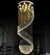 Top Led Round Sphere Crystal Staircase Chandelier Pendant Light Lamp Customized