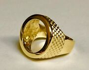 14k Yellow Gold Men's 20 Mm Coin Ring - Mounting Only For 1/10oz. Us Coin