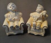 Coventry Ware Chalkware Boy Pipe And Girl Doll Bookends