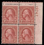 Us 634a 2andcent Carmine Type Ii Plate Block Of 4 Og Nh F/vf Weiss Cert