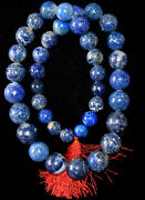 Huge Antique Chinese Lapis Lazuli Round Ball Beads Necklace 30 Long