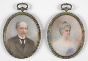 Mary Langdon Cheney 1875-1977 Mr. And Mrs. Cornwell Two Miniatures 1903