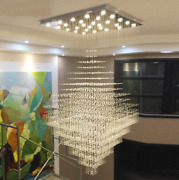 Led Crystal Raindrop Pendant Lamp Square Base Stairs Ceiling Light Chandelier