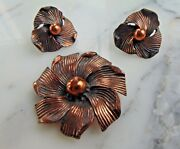 Vintage Single Solid Copper 1.5 Flower Brooch Pin And Screw Back Earring Set