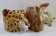 Rare 60and039s Mid Century Italian Ceramic Leopard And Lion Planters For Neiman Marcus