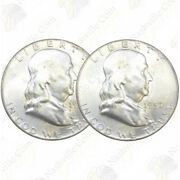 Franklin 90 Silver Half Dollars - Two Coin Lot - Uncirculated - Sku 36160