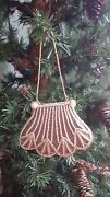 Vtg Woman Victorian Purse Ornaments Beads And Fabric Christmas Tree Set 6