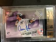 2017 Topps Now 654b Aaron Judge Auto /25 50th Hr Record Bgs 10 Yr Of Yankees