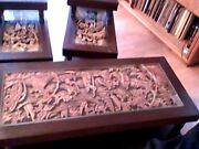 Antique Japanese Pre-wwllandnbsp Carved Inlaid Ends And Coffee Table W/original Glass