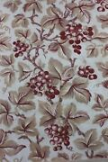 French Antique Home Cotton Printed Fruit Grapes And Leaves Fabric C1870-8024x32