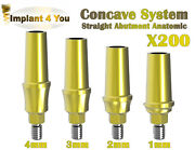 200 X Concave Straight Abutment Anatomic For Dental Implant Internal Hex 2.42