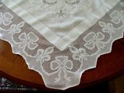 Magnif Antique Linen Lace Tablecloth 57 Fab Hand Embroidery Irish Supper Cloth