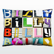 Personalized Pillow Featuring The Name Billy In Photos Of Sign Letters