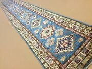 2and039.7 X 20and039.2 Light Blue Fine Geometric Oriental Rug Hand Knotted Long Runner