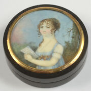 French Round Box With Miniature Portrait Of A Young Woman 1800/05