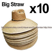 Wholesale Lot Of 10 Big Size Straw Hats With Chin String Wide Brim 7.5