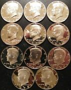 1968 1979 Proof Kennedy Half Dollars 11 Coins From Us Proof Sets 3-40 Silver