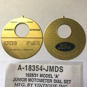 Ford Model A Junior Motometer Replacement Dial Face Set 1928-1931