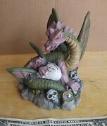Dragon And Skulls Gothic Medievil Resin 5 In Statue Figurine By Spoontiques