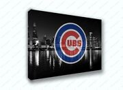 Chicago Cubs Black And White City Sports Painting Canvas Print Art Decor Wall