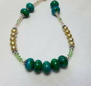 Green Crystal Necklace And Earring Set - Jasmine Spring Pearl Collection