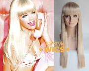 Deluxe Barbie Doll Extra Long Straight Platinum Blonde Wig Costume Cosplay