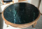 Marble Slab Round 40 Table With 1 Black Marble Inset Free Local Pickup Only