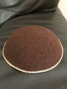 Brown Knitted Kippah With Beige Stripe On Border Classic Knitted Kippah