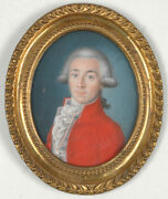 Portrait Of A German Aristocrat, Miniature From The Noble Collection, Ca. 1770