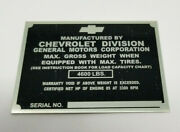 Chevrolet Chevy 1/2 Ton Truck Id Identification Tag 1950 Stamped