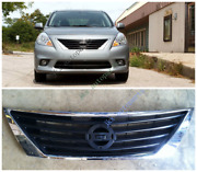 Chrome Abs Front Bumper Middle Grille Grill Repalce K For Nissan Versa 2011-14