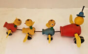 Vintage Fisher Price Gabby Goofies Wood Momma Duck And Baby Ducklings Pull Toy