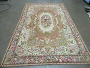 5and039 X 8and039 Vintage Hand Made Hooked Rug Aubusson Pattern Floral Garden Nice