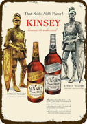1948 Kinsey Gold And Silver Whiskey Vintage Look Replica Metal Sign - Armor Knight