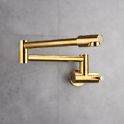 Gold Universal Wall Mount Stretch Folding Kitchen Faucet Single Handle Cold Tap