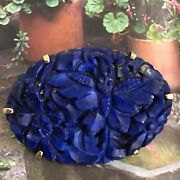 14k Gold Victorian Chinese Carved Blue Lapis Brooch/14k Gold Lapis Brooch